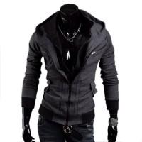 Модная двухслойная мужская трикотажная кофта худи с капюшоном и воротником