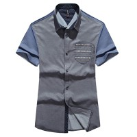 Модная мужская рубашка с коротким рукавом и карманом