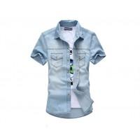 Модная летняя джинсовая мужская рубашка с отложным воротником и коротким рукавом