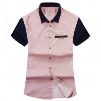 Модная мужская рубашка в мелкую полоску с коротким рукавом