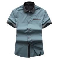 Модная мужская рубашка с коротким рукавом и парными пуговицами