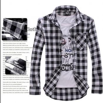 Мужская винтажная приталенная рубашка в клетку с длинным рукавом