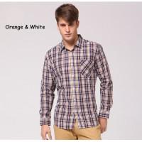 Клетчатая мужская хлопчатобумажная рубашка с длинным рукавом 4 цвета