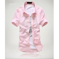 Модная мужская рубашка с коротким рукавом, 15 цветов