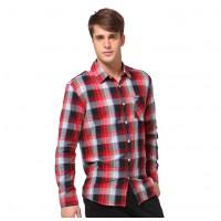 Красная клетчатая мужская хлопчатобумажная рубашка с длинным рукавом