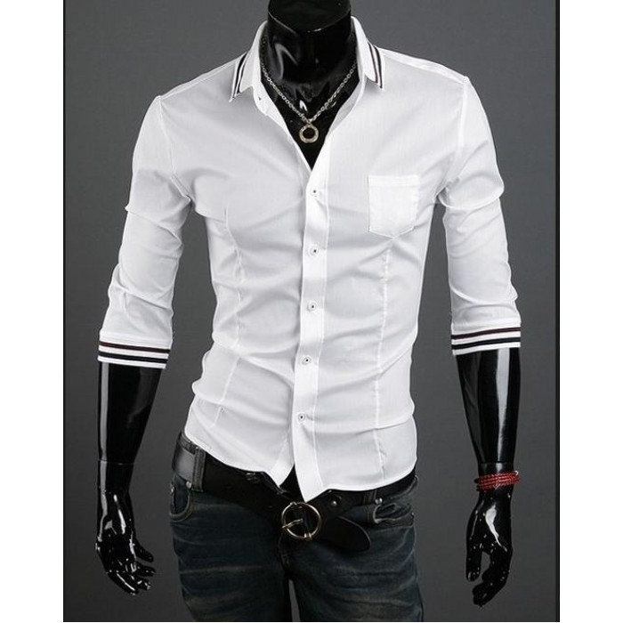 201e9d08b9d Стильная мужская рубашка с рукавом на 3 4 и цветными манжетами