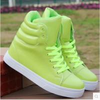 Высокие модные кроссовки в стиле хип-хоп из лакированной кожи 6 флуоресцентных цветов