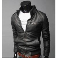 Короткая мужская кожаная приталенная куртка с воротником стойкой
