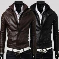Мужская приталенная кожаная куртка с двумя молниями, воротник стойка