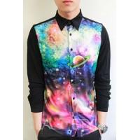 Мужская рубашка с принтом галактика