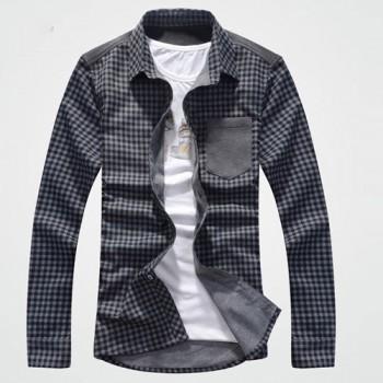 Модная мужская рубашка в клетку с длинным рукавом